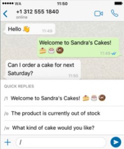 Use quick replies on WhatsApp Business